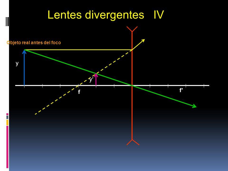 f y y Lentes divergentes IV Objeto real antes del foco Imagen virtual f