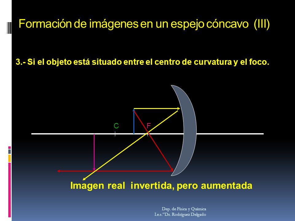 Formación de imágenes en un espejo cóncavo (III) Dep. de Física y Química I.e.s.Dr. Rodríguez Delgado CF Imagen real invertida, pero aumentada 3.- Si