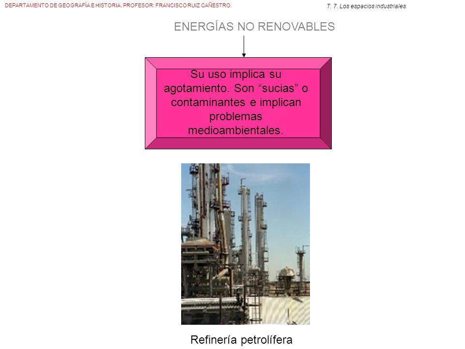 DEPARTAMENTO DE GEOGRAFÍA E HISTORIA. PROFESOR: FRANCISCO RUIZ CAÑESTRO. T. 7. Los espacios industriales. ENERGÍAS NO RENOVABLES Su uso implica su ago