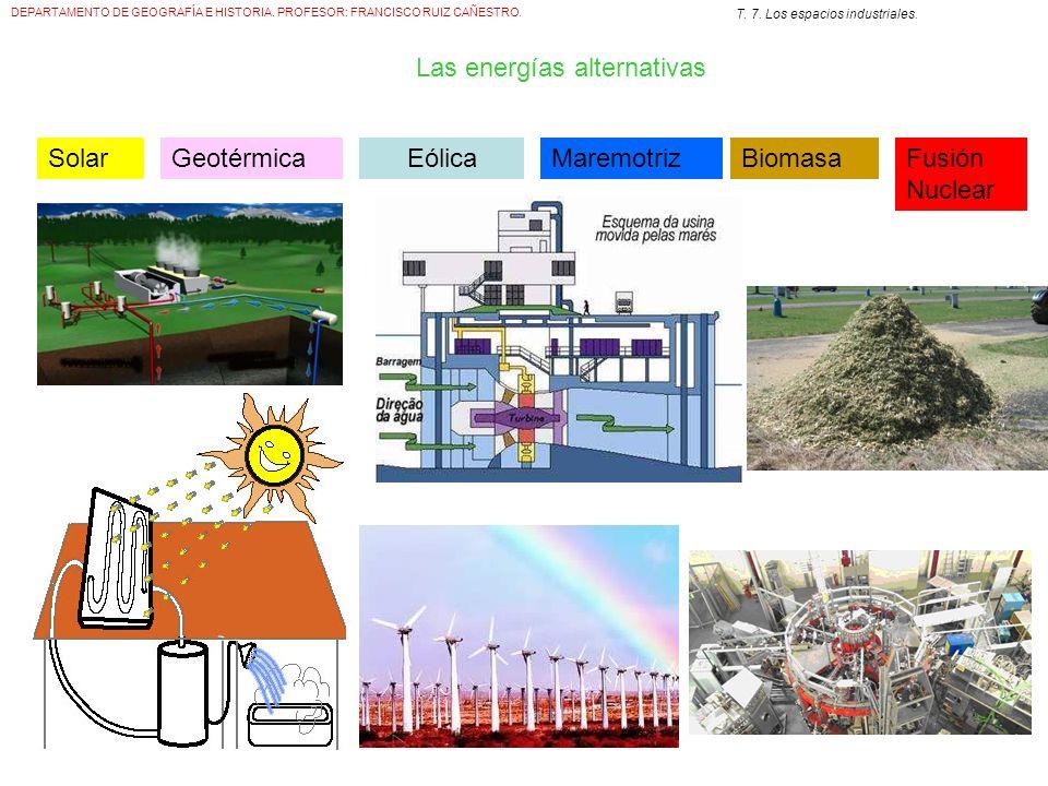 DEPARTAMENTO DE GEOGRAFÍA E HISTORIA. PROFESOR: FRANCISCO RUIZ CAÑESTRO. T. 7. Los espacios industriales. Las energías alternativas SolarGeotérmicaEól
