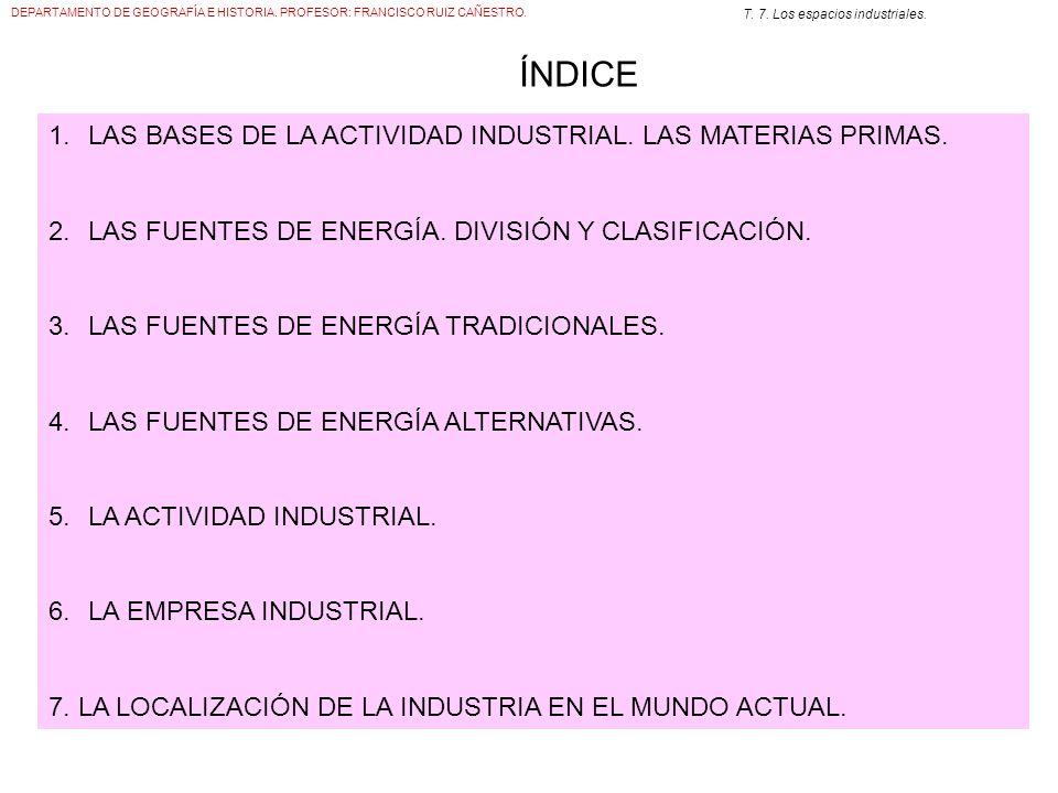 DEPARTAMENTO DE GEOGRAFÍA E HISTORIA. PROFESOR: FRANCISCO RUIZ CAÑESTRO. T. 7. Los espacios industriales. ÍNDICE 1.LAS BASES DE LA ACTIVIDAD INDUSTRIA