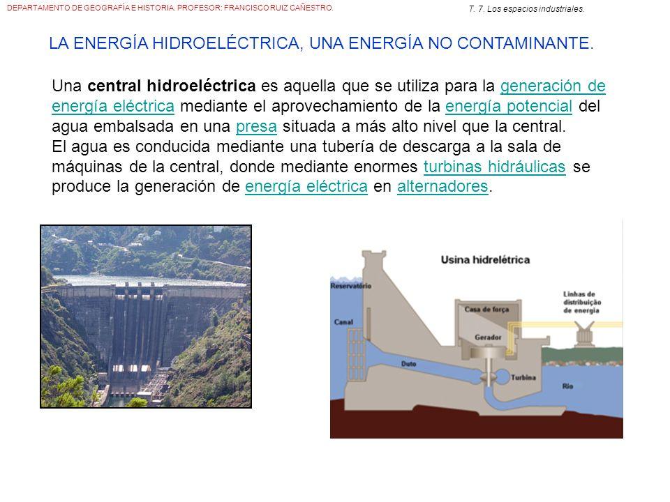 DEPARTAMENTO DE GEOGRAFÍA E HISTORIA. PROFESOR: FRANCISCO RUIZ CAÑESTRO. T. 7. Los espacios industriales. LA ENERGÍA HIDROELÉCTRICA, UNA ENERGÍA NO CO
