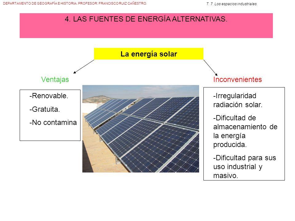 DEPARTAMENTO DE GEOGRAFÍA E HISTORIA. PROFESOR: FRANCISCO RUIZ CAÑESTRO. T. 7. Los espacios industriales. 4. LAS FUENTES DE ENERGÍA ALTERNATIVAS. La e