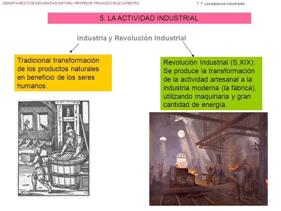 DEPARTAMENTO DE GEOGRAFÍA E HISTORIA. PROFESOR: FRANCISCO RUIZ CAÑESTRO. T. 7. Los espacios industriales. 5. LA ACTIVIDAD INDUSTRIAL Tradicional trans