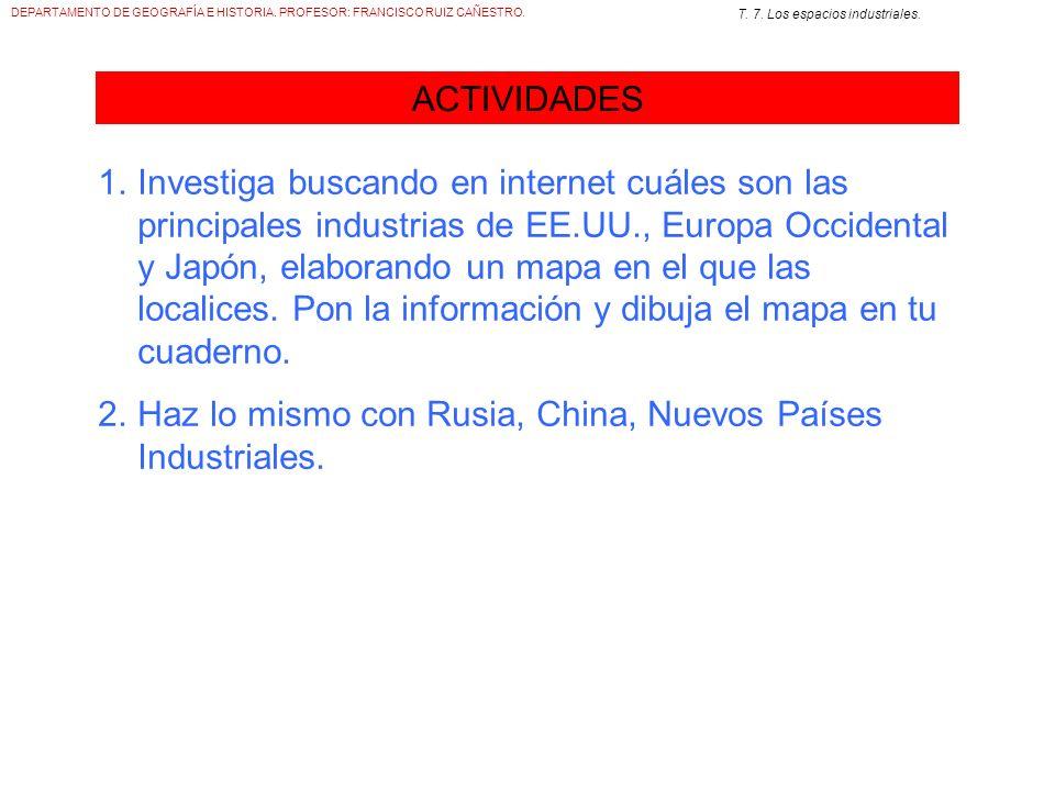 DEPARTAMENTO DE GEOGRAFÍA E HISTORIA. PROFESOR: FRANCISCO RUIZ CAÑESTRO. T. 7. Los espacios industriales. ACTIVIDADES 1.Investiga buscando en internet