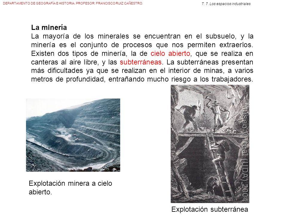 DEPARTAMENTO DE GEOGRAFÍA E HISTORIA. PROFESOR: FRANCISCO RUIZ CAÑESTRO. T. 7. Los espacios industriales. La minería La mayoría de los minerales se en