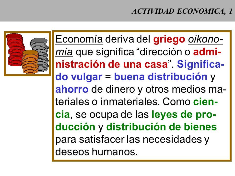 ACTIVIDAD ECONOMICA, 1 Economía deriva del griego oikono- mía que significa dirección o admi- nistración de una casa.
