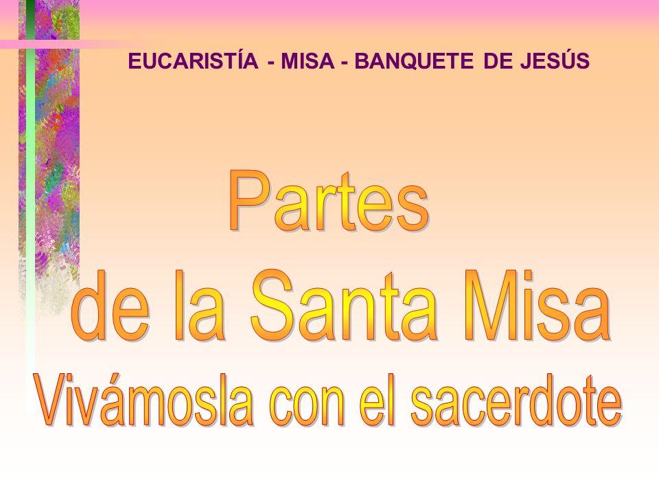 EUCARISTÍA - MISA - BANQUETE DE JESÚS LucesPan y vino Cáliz Mesa o altar Flores Crucifijo Sacerdote e invitados Patena