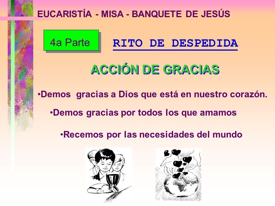 EUCARISTÍA - MISA - BANQUETE DE JESÚS Demos gracias a Dios que está en nuestro corazón. Demos gracias por todos los que amamos Recemos por las necesid
