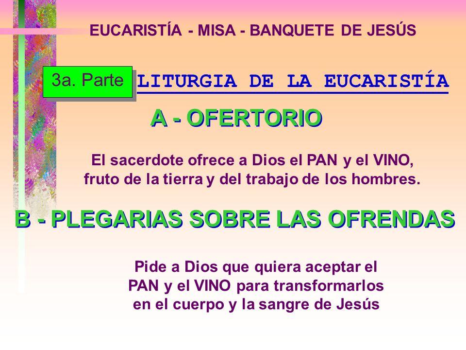 EUCARISTÍA - MISA - BANQUETE DE JESÚS LITURGIA DE LA EUCARISTÍA A - OFERTORIO El sacerdote ofrece a Dios el PAN y el VINO, fruto de la tierra y del tr