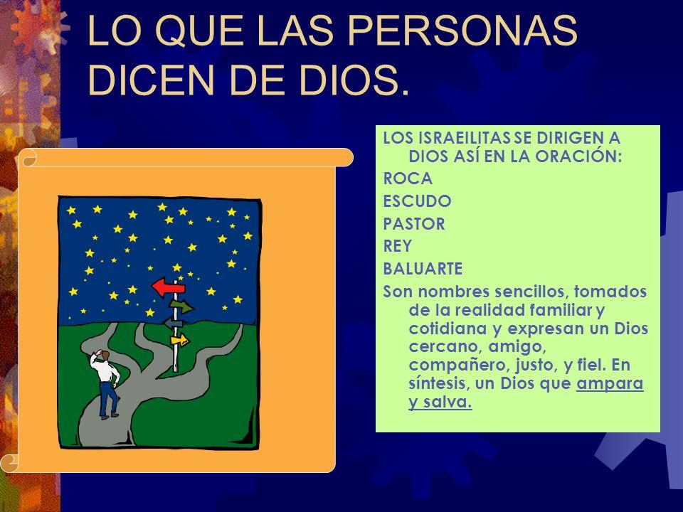 DIOS EN EL ANTIGUO TESTAMENTO LOS NOMBRES DE DIOS. ELOIM YAHAVE Dios dice de sí mismo: Yo soy el Dios vivo Yo soy el Santo Soy el único Dios Todopoder