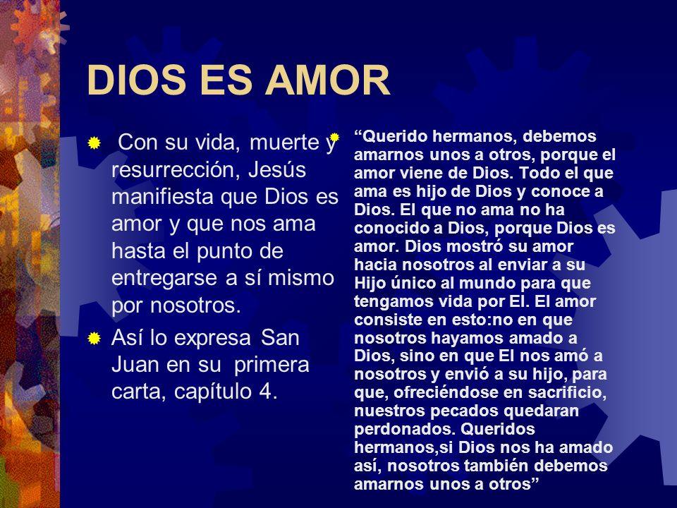 DIOS ES AMOR Con su vida, muerte y resurrección, Jesús manifiesta que Dios es amor y que nos ama hasta el punto de entregarse a sí mismo por nosotros.