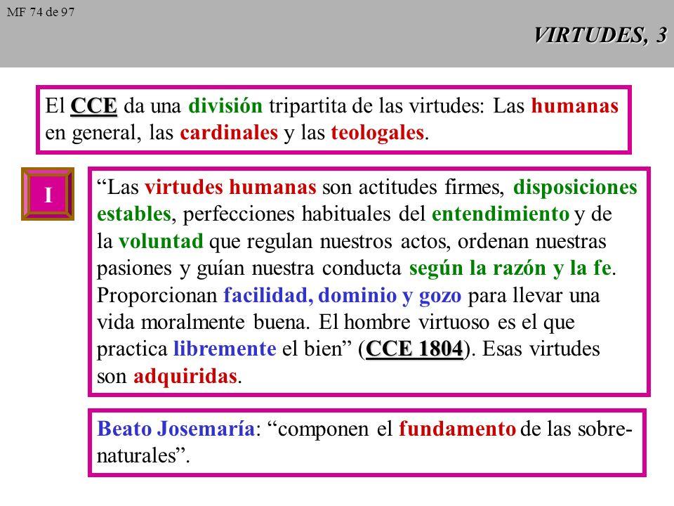 VIRTUDES, 3 CCE El CCE da una división tripartita de las virtudes: Las humanas en general, las cardinales y las teologales.