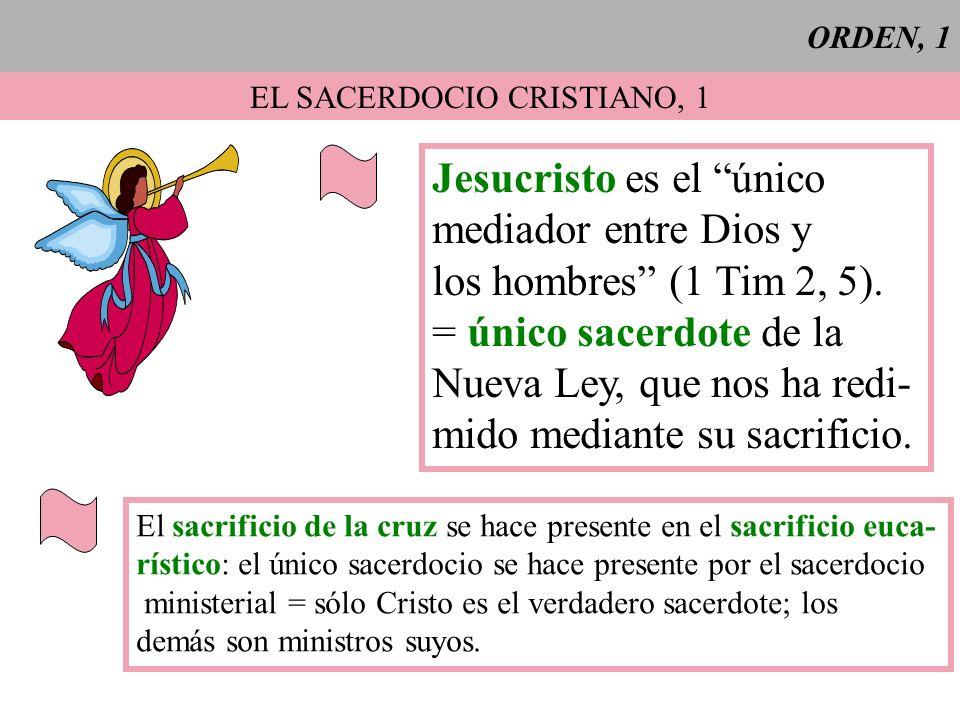 ORDEN, 1 EL SACERDOCIO CRISTIANO, 1 Jesucristo es el único mediador entre Dios y los hombres (1 Tim 2, 5). = único sacerdote de la Nueva Ley, que nos