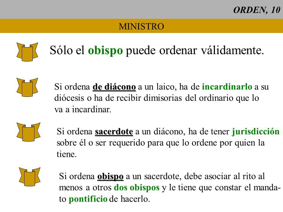ORDEN, 10 MINISTRO Sólo el obispo puede ordenar válidamente. de diácono Si ordena de diácono a un laico, ha de incardinarlo a su diócesis o ha de reci