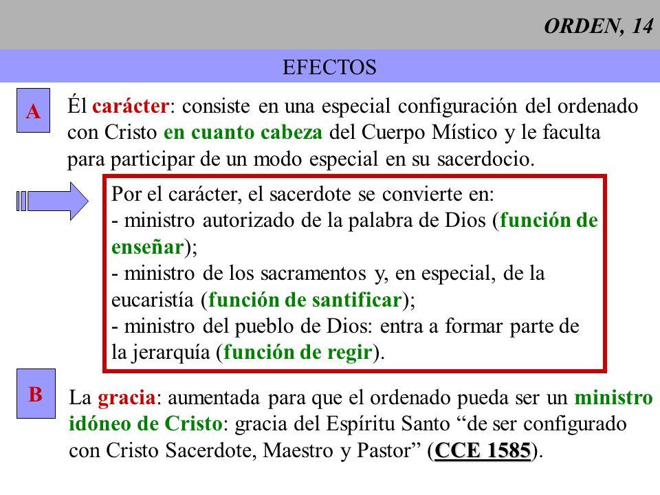ORDEN, 14 EFECTOS A Él carácter: consiste en una especial configuración del ordenado con Cristo en cuanto cabeza del Cuerpo Místico y le faculta para