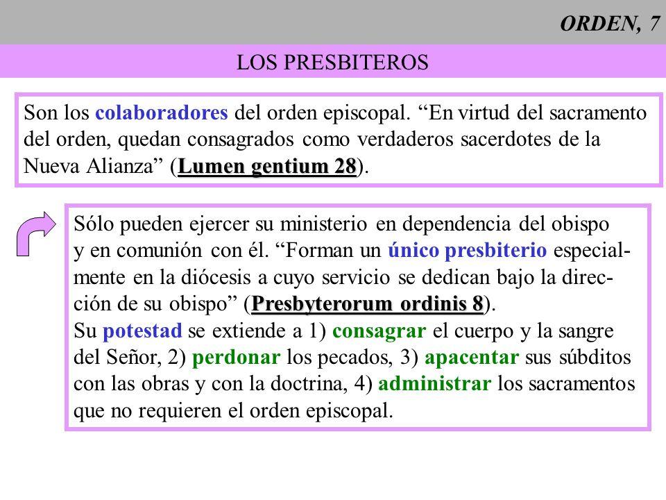 ORDEN, 8 LOS DIACONOS En el grado inferior de la jerarquía están los diáconos, a los que se les imponen las manos para realizar un servicio y no para ejercer un Lumen gentium 29 sacerdocio (Lumen gentium 29).