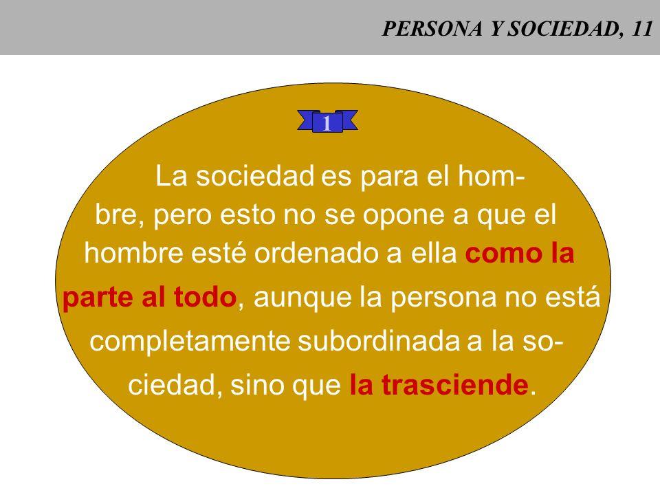 PERSONA Y SOCIEDAD, 10 Gaudium et spes 26 Gaudium et spes 26: el orden social y su desarrollo deben, en todo momento, dar co- mo resultado el bien de