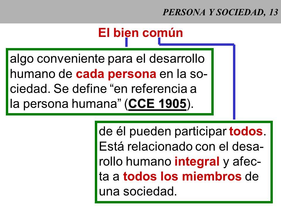 PERSONA Y SOCIEDAD, 12 2 Las personas han de colaborar al bien de la socie- dad de la cual forman parte, pero ésta no puede despojar a las personas de