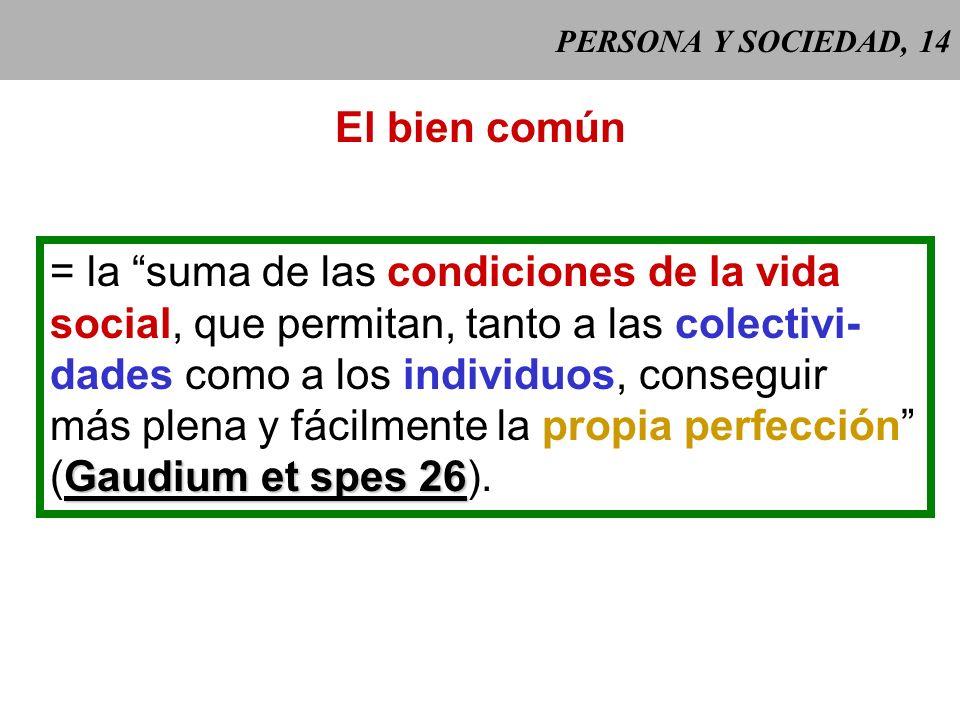 PERSONA Y SOCIEDAD, 13 El bien común algo conveniente para el desarrollo humano de cada persona en la so- ciedad. Se define en referencia a CCE 1905 l
