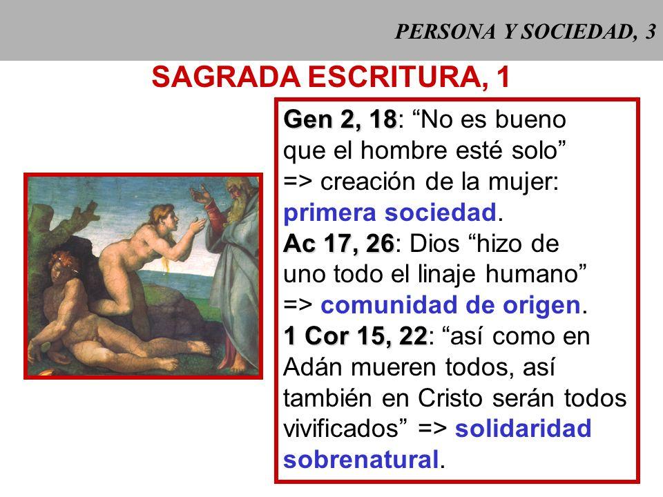 PERSONA Y SOCIEDAD, 3 SAGRADA ESCRITURA, 1 Gen 2, 18 Gen 2, 18: No es bueno que el hombre esté solo => creación de la mujer: primera sociedad.