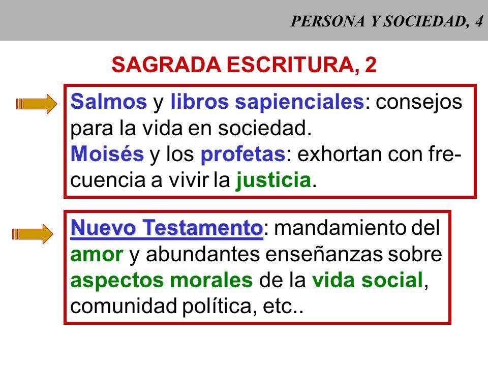 PERSONA Y SOCIEDAD, 4 SAGRADA ESCRITURA, 2 Salmos y libros sapienciales: consejos para la vida en sociedad.