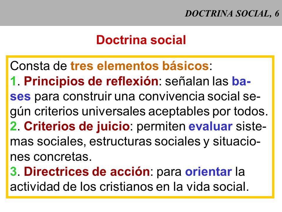 DOCTRINA SOCIAL, 5 Doctrina social = conjunto de enseñanzas relativas a la vida social en cuanto ordenada al fin último, presentadas por la Iglesia pa
