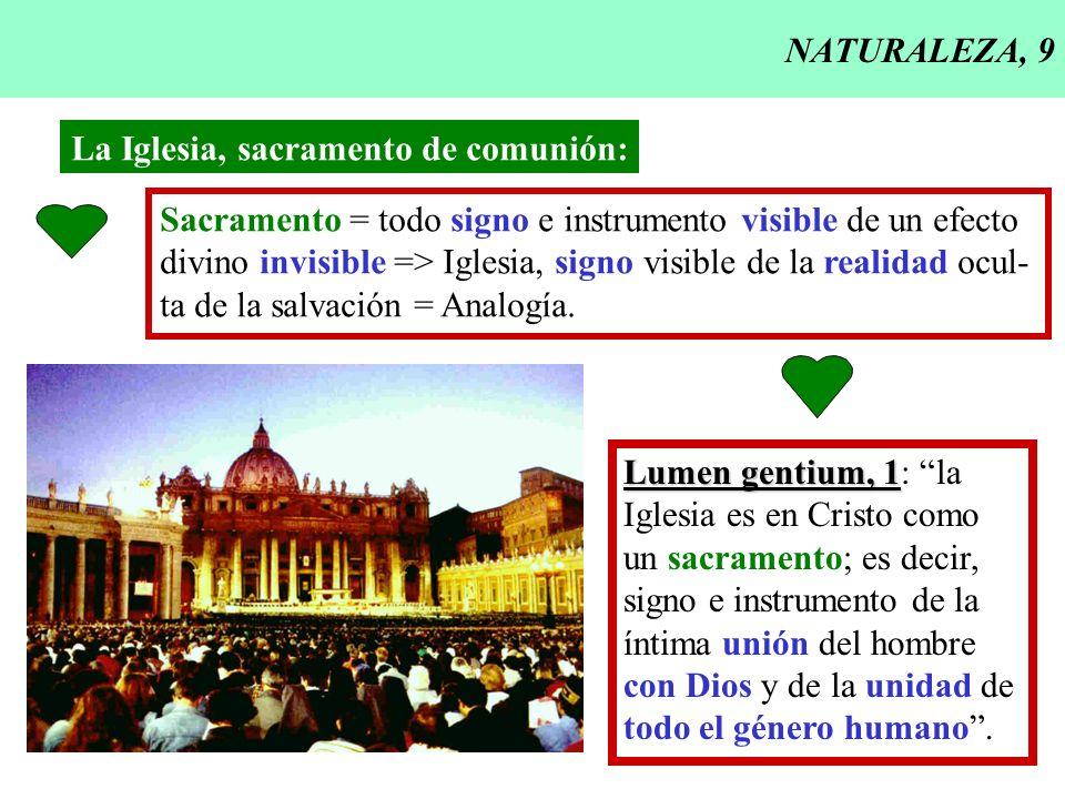 NATURALEZA, 9 La Iglesia, sacramento de comunión: Sacramento = todo signo e instrumento visible de un efecto divino invisible => Iglesia, signo visibl