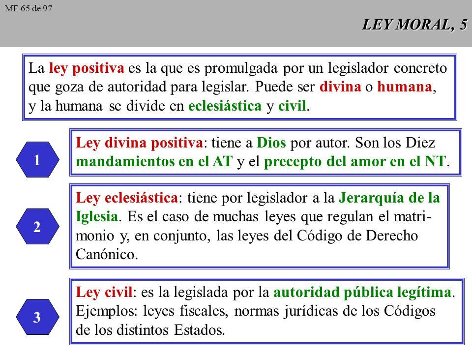 LEY MORAL, 5 La ley positiva es la que es promulgada por un legislador concreto que goza de autoridad para legislar.