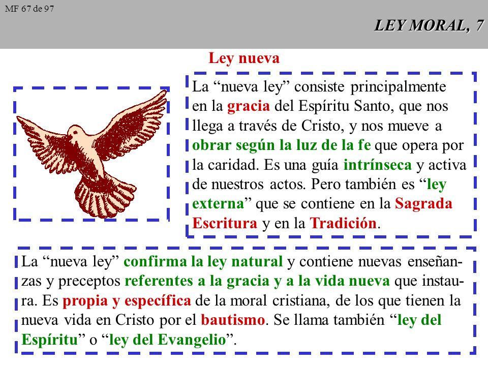 LEY MORAL, 7 Ley nueva La nueva ley consiste principalmente en la gracia del Espíritu Santo, que nos llega a través de Cristo, y nos mueve a obrar según la luz de la fe que opera por la caridad.