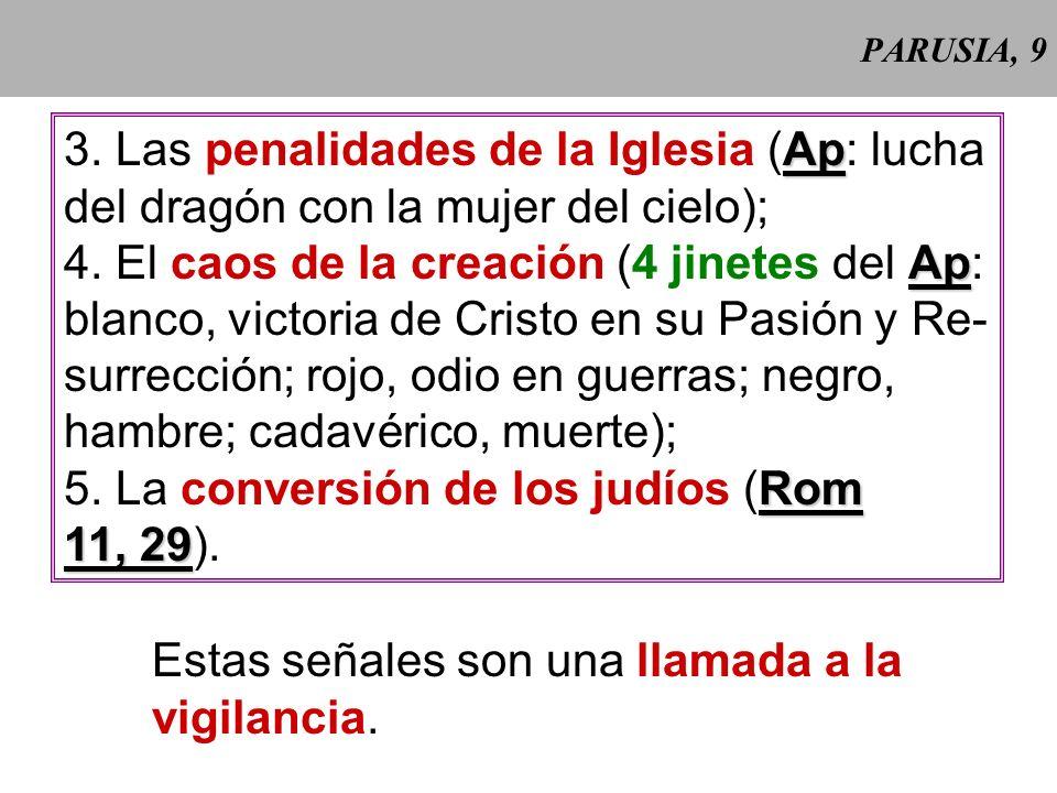 PARUSIA, 9 Ap 3.Las penalidades de la Iglesia (Ap: lucha del dragón con la mujer del cielo); Ap 4.