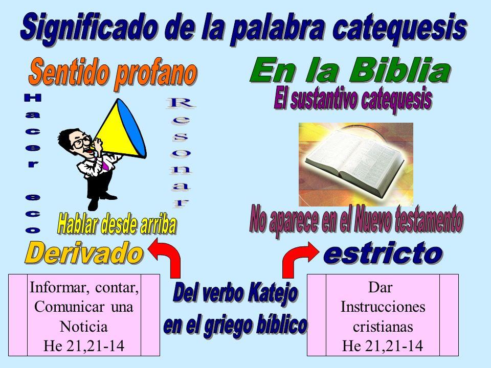 Informar, contar, Comunicar una Noticia He 21,21-14 Dar Instrucciones cristianas He 21,21-14