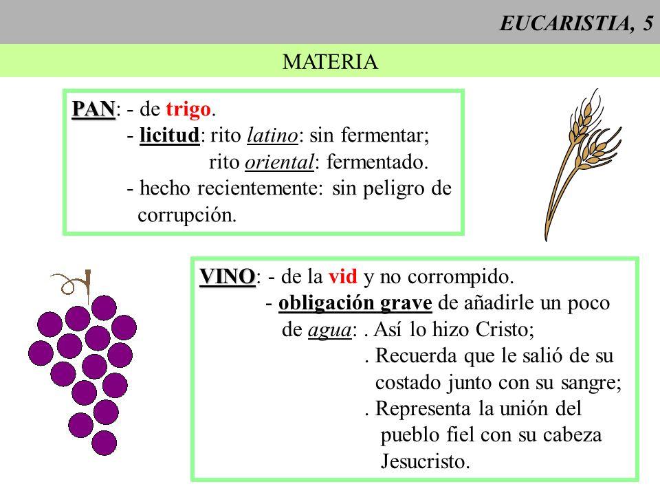 EUCARISTIA, 5 MATERIA PAN PAN: - de trigo. - licitud: rito latino: sin fermentar; rito oriental: fermentado. - hecho recientemente: sin peligro de cor