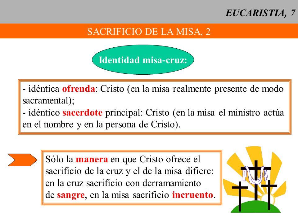 EUCARISTIA, 7 SACRIFICIO DE LA MISA, 2 Identidad misa-cruz: - idéntica ofrenda: Cristo (en la misa realmente presente de modo sacramental); - idéntico
