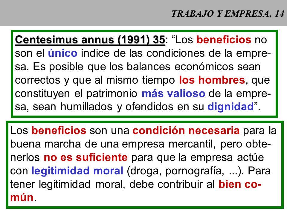 TRABAJO Y EMPRESA, 14 Centesimus annus (1991) 35 Centesimus annus (1991) 35: Los beneficios no son el único índice de las condiciones de la empre- sa.