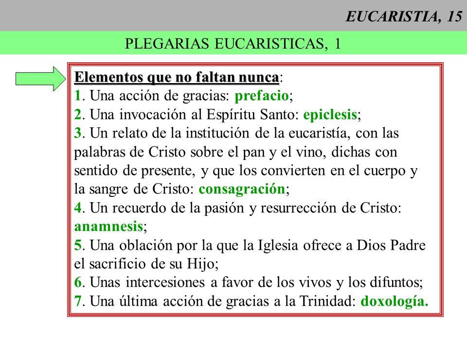 EUCARISTIA, 15 PLEGARIAS EUCARISTICAS, 1 Elementos que no faltan nunca Elementos que no faltan nunca: 1. Una acción de gracias: prefacio; 2. Una invoc