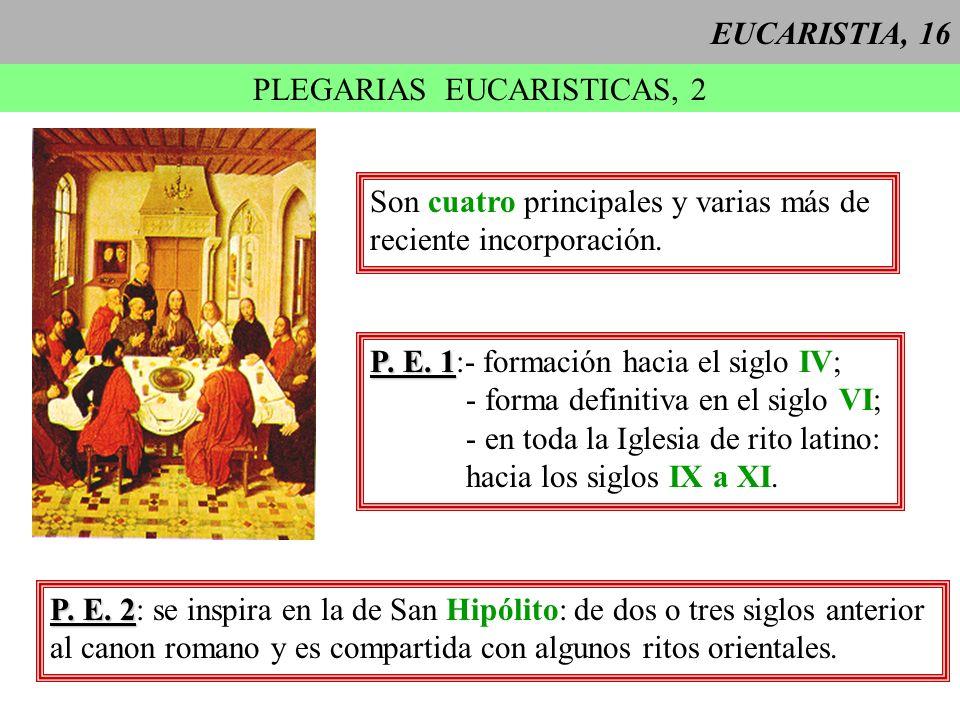 EUCARISTIA, 16 PLEGARIAS EUCARISTICAS, 2 P. E. 1 P. E. 1:- formación hacia el siglo IV; - forma definitiva en el siglo VI; - en toda la Iglesia de rit