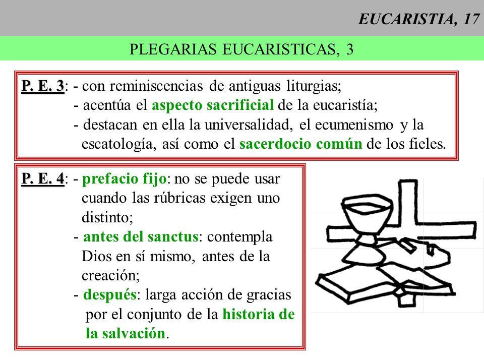 EUCARISTIA, 17 PLEGARIAS EUCARISTICAS, 3 P. E. 3 P. E. 3: - con reminiscencias de antiguas liturgias; - acentúa el aspecto sacrificial de la eucaristí