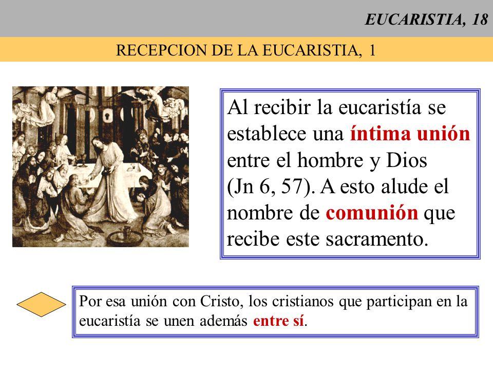 EUCARISTIA, 18 RECEPCION DE LA EUCARISTIA, 1 Al recibir la eucaristía se establece una íntima unión entre el hombre y Dios (Jn 6, 57). A esto alude el