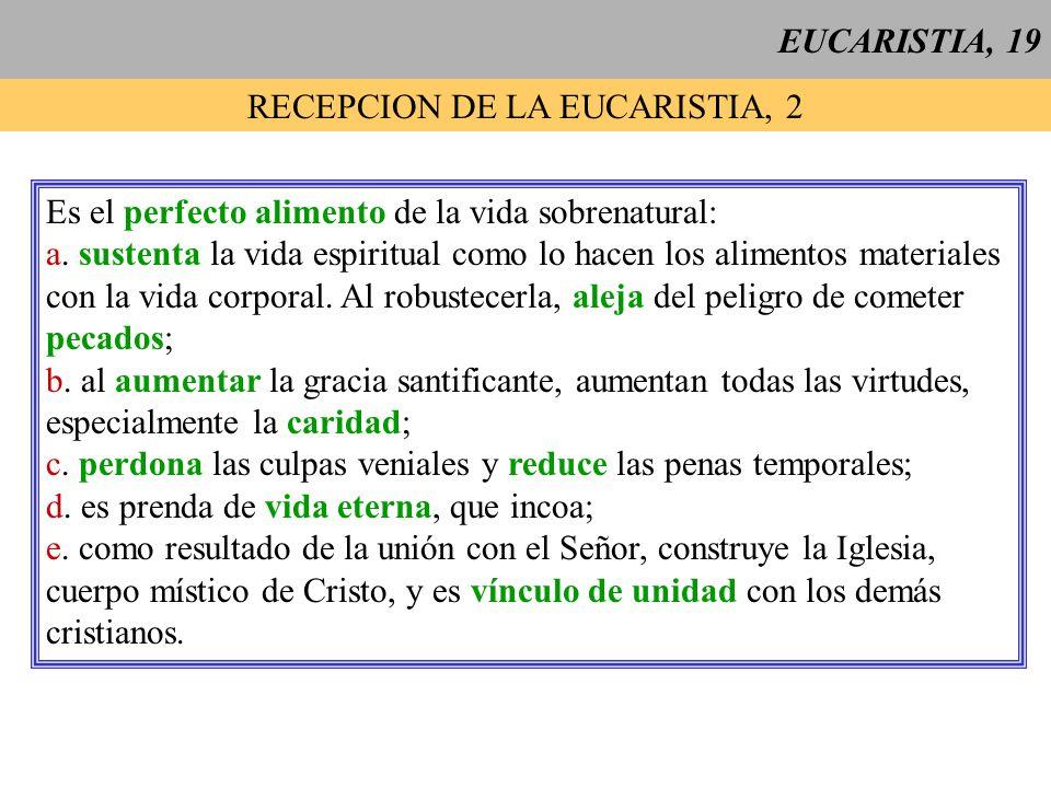EUCARISTIA, 19 RECEPCION DE LA EUCARISTIA, 2 Es el perfecto alimento de la vida sobrenatural: a. sustenta la vida espiritual como lo hacen los aliment