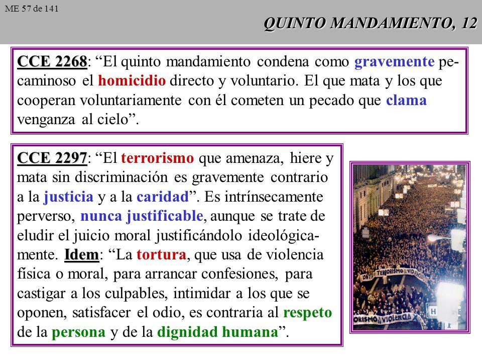 QUINTO MANDAMIENTO, 12 CCE 2268 CCE 2268: El quinto mandamiento condena como gravemente pe- caminoso el homicidio directo y voluntario.