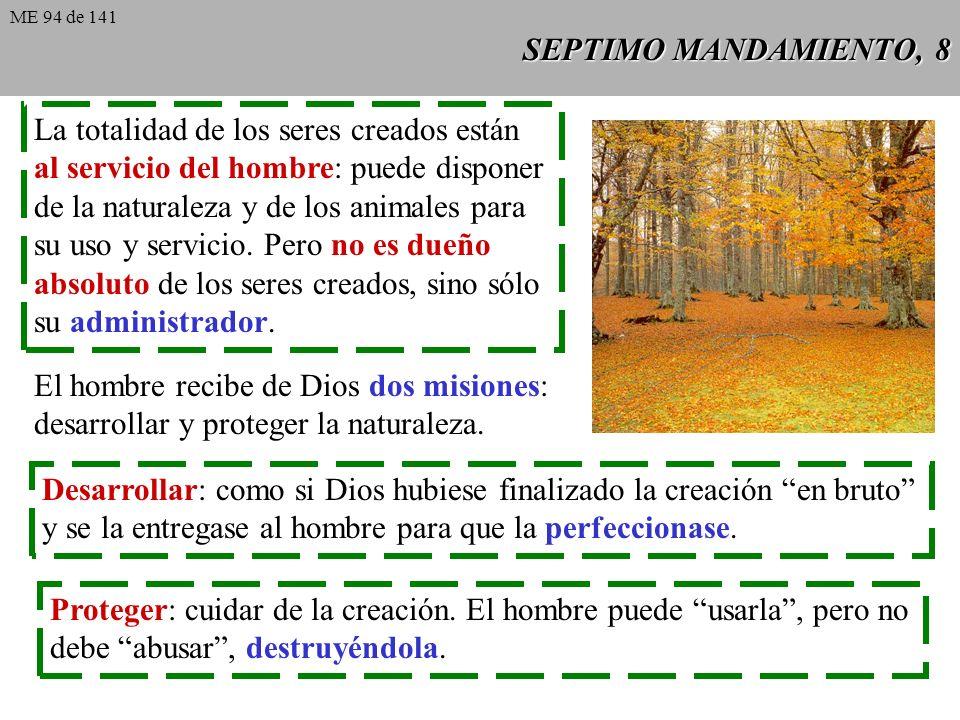 SEPTIMO MANDAMIENTO, 8 La totalidad de los seres creados están al servicio del hombre: puede disponer de la naturaleza y de los animales para su uso y servicio.