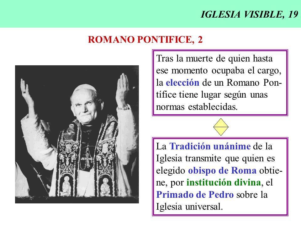 IGLESIA VISIBLE, 20 ROMANO PONTIFICE, 3 En cuanto sucesor de San Pedro, el Papa, por institución divina, es el principio y fundamento, perpetuo y visible, de la unidad de fe y de comu- Lumen gentium 18 nión en la Iglesia (Lumen gentium 18).