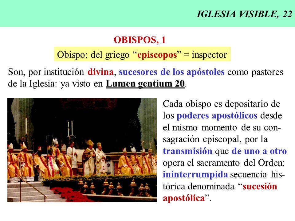 IGLESIA VISIBLE, 22 OBISPOS, 1 Obispo: del griego episcopos = inspector Son, por institución divina, sucesores de los apóstoles como pastores Lumen ge