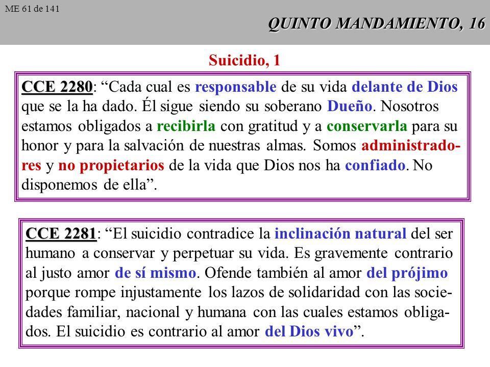 QUINTO MANDAMIENTO, 16 CCE 2280 CCE 2280: Cada cual es responsable de su vida delante de Dios que se la ha dado.