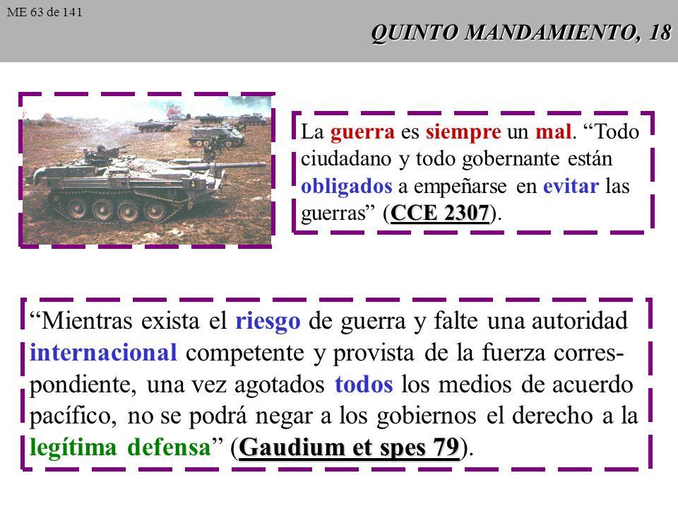 QUINTO MANDAMIENTO, 18 La guerra es siempre un mal.