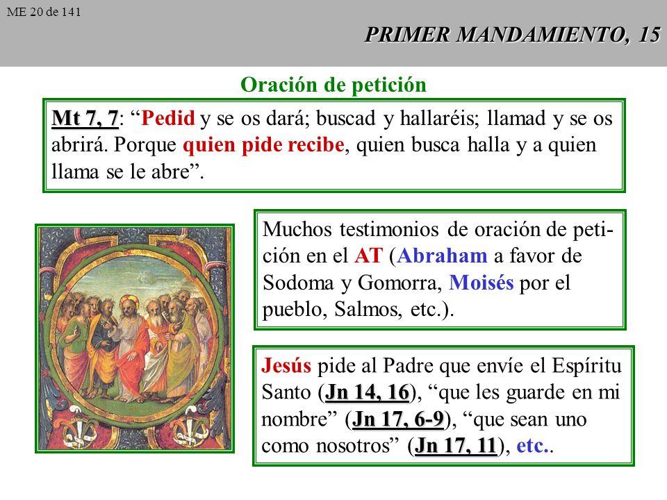 PRIMER MANDAMIENTO, 15 Oración de petición Mt 7, 7 Mt 7, 7: Pedid y se os dará; buscad y hallaréis; llamad y se os abrirá.