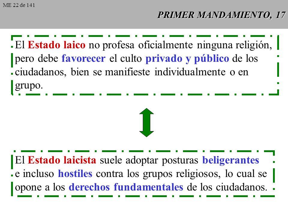 PRIMER MANDAMIENTO, 17 El Estado laico no profesa oficialmente ninguna religión, pero debe favorecer el culto privado y público de los ciudadanos, bien se manifieste individualmente o en grupo.