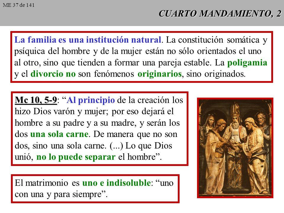 CUARTO MANDAMIENTO, 2 La familia es una institución natural.
