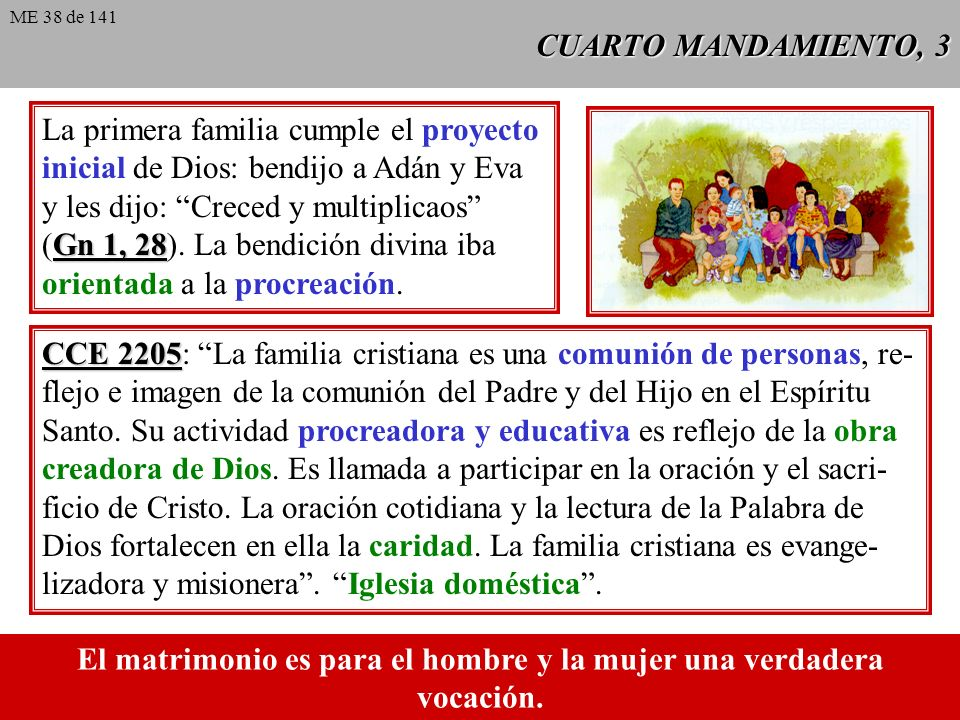 CUARTO MANDAMIENTO, 3 La primera familia cumple el proyecto inicial de Dios: bendijo a Adán y Eva y les dijo: Creced y multiplicaos Gn 1, 28 (Gn 1, 28).